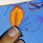 Como bordar hojas.  How to embroider leaves